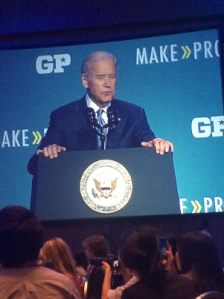 Joe Biden speaking at Make Progress conference in DC courtesy of Heather Brody