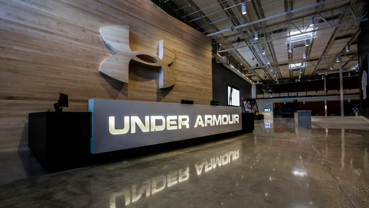 Photo of Under Armour lobby with 3D logo on wall